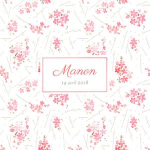 Faire-part de naissance Fleurs des champs photo rose
