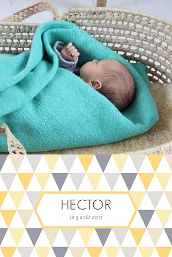 Faire-part de naissance Triangles portrait photo jaune violet