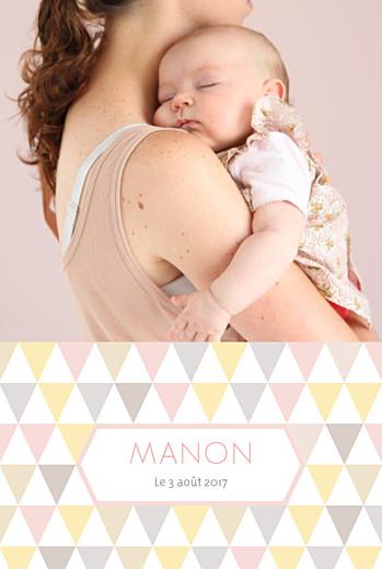 Faire-part de naissance Triangles portrait photo rose