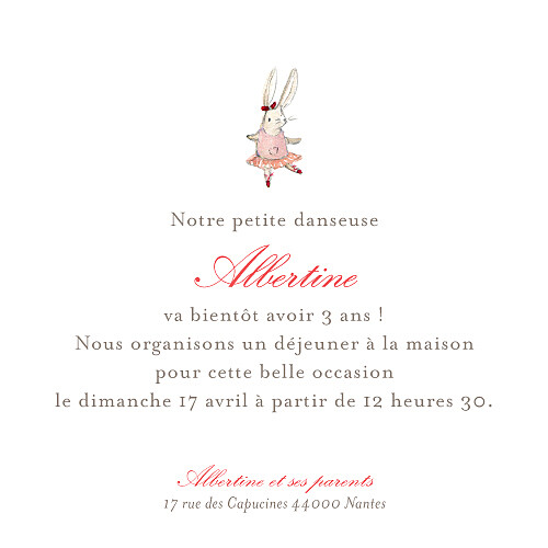 Carte d'anniversaire Pirouette photo rose