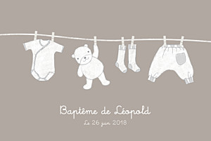 Faire-part de baptême beige linge peluche photo taupe