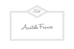 Marque-table mariage gris monogramme gris foncé