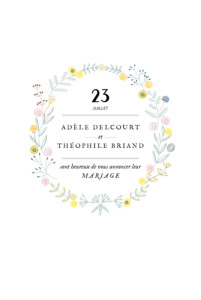 Faire-part de mariage Instant fleuri blanc