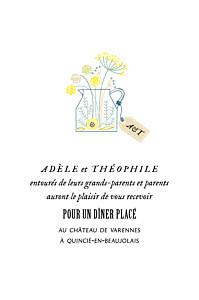 Carton d'invitation mariage moderne instant fleuri rose