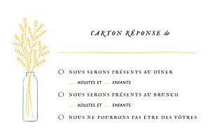 Carton réponse mariage Instant fleuri jaune