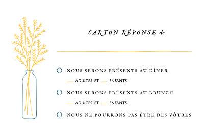 Carton réponse mariage Instant fleuri jaune finition