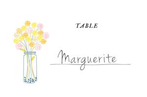 Marque-table mariage Instant fleuri jaune