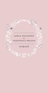 Menu de mariage Instant fleuri rose