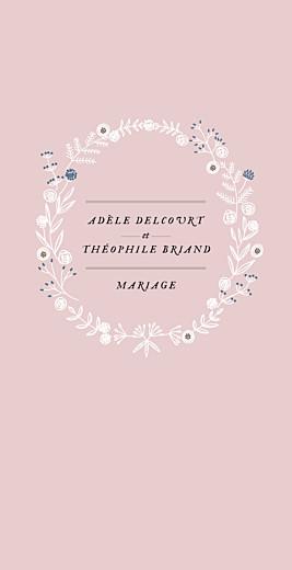 Menu de mariage Instant fleuri (4 pages) rose