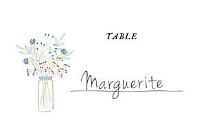Marque-table mariage Instant fleuri blanc