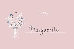 Marque-table mariage rose instant fleuri rose