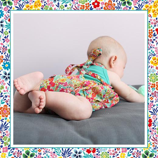 Faire-part de naissance Petit mille fleurs (triptyque) rouge & jaune