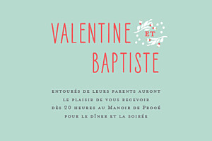 Carton d'invitation mariage Eden vert