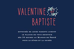 Carton d'invitation mariage Eden bleu nuit