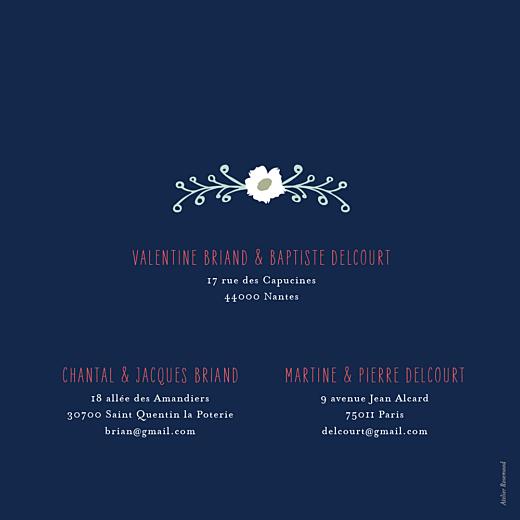 Faire-part de mariage Eden (4 pages) bleu nuit