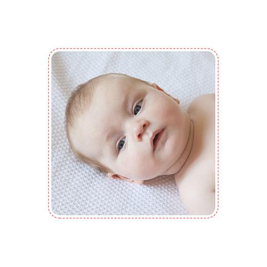 Faire-part de naissance Ruban étoilé 2 photos corail