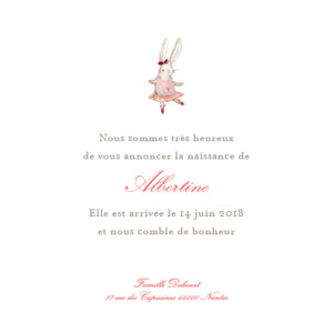 Faire-part de naissance Pirouette photo rose