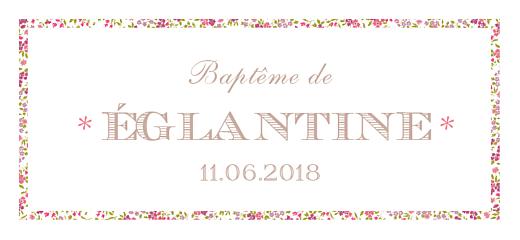 Etiquette de baptême Poisson liberty rose