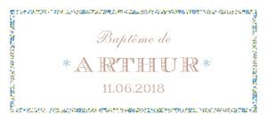 Etiquette de baptême Poisson liberty bleu
