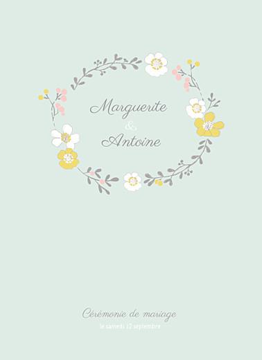 Livret de messe mariage Couronne champêtre menthe