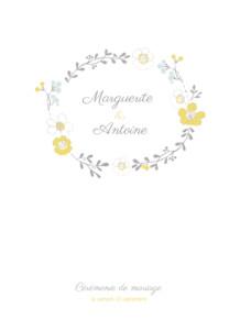 Livret de messe mariage Couronne champêtre blanc ocre