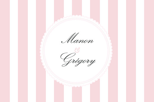 Marque-table mariage Gourmand rayé rose