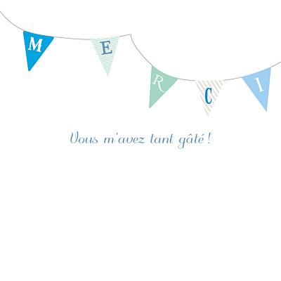 Carte de remerciement Petits fanions bleu taupe finition