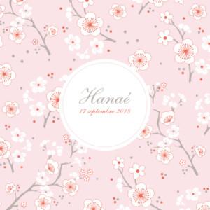 Faire-part de naissance Cerisiers en fleurs (3 photos) rose