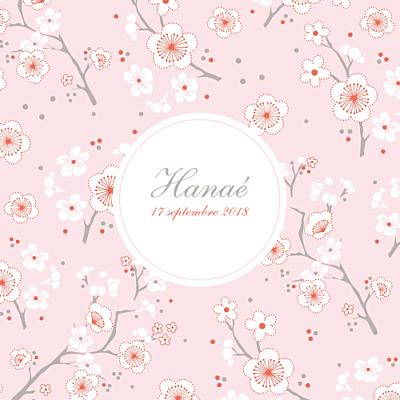 Faire-part de naissance Cerisiers en fleurs (3 photos) rose finition