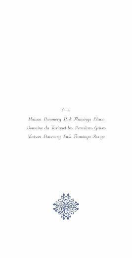 Menu de mariage Grâce (4 pages) blanc bleu