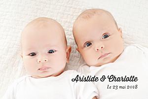 Faire-part de naissance noir et blanc double jeu jumeaux blanc