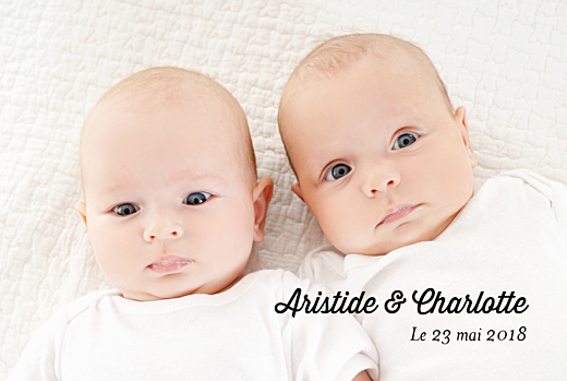 Faire-part de naissance Double jeu jumeaux blanc
