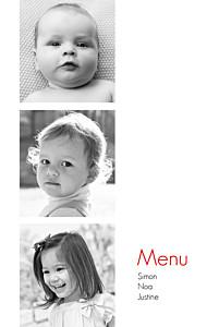 Menu de baptême mixte contemporain 3 photos blanc
