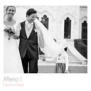 Carte de remerciement mariage Moderne photos (triptyque) blanc page 1