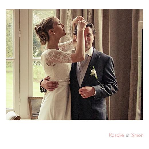 Carte de remerciement mariage Moderne photos (triptyque) blanc
