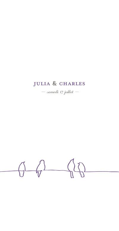 Menu de mariage Oiseaux (4 pages) prune finition