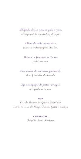 Menu de mariage Oiseaux (4 pages) prune
