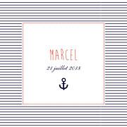 Faire-part de naissance Petit matelot (triptyque) bleu & rouge page 1