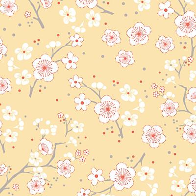 Carte de remerciement Cerisiers en fleurs jaune finition