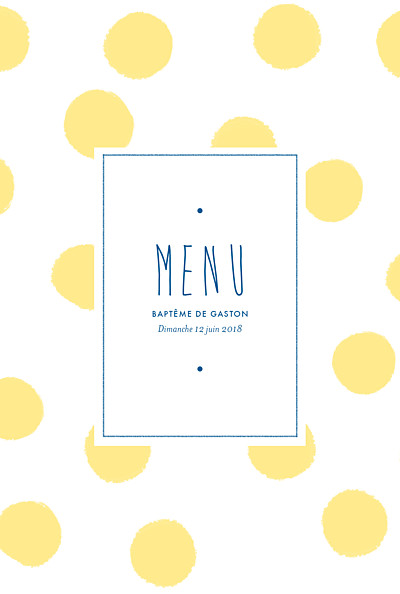Menu de baptême Big dots jaune finition