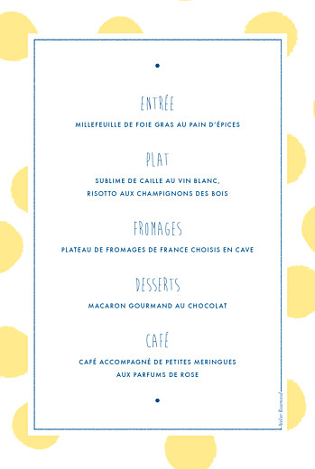 Menu de baptême Big dots jaune - Page 2