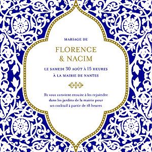 Faire-part de mariage orientale byzance (carré) bleu