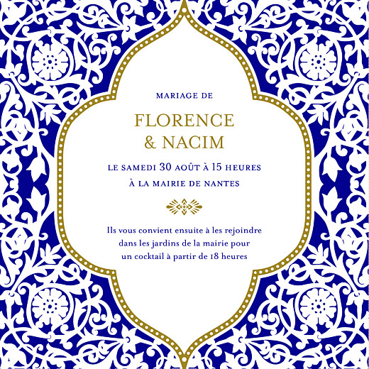 Faire-part de mariage Byzance (carré) bleu