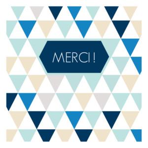 Carte de remerciement Merci triangles photo bleu foncé