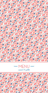 Menu de mariage rouge simplement liberty (4 pages) rouge