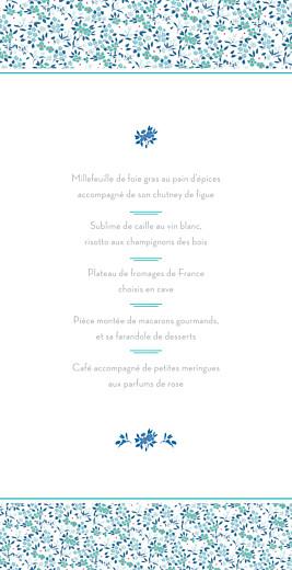 Menu de mariage Simplement liberty (4 pages) bleu