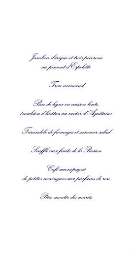 Menu de mariage Élégant blanc