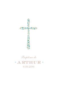 Menu de baptême liberty croix liberty bleu