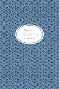Menu de baptême Pattern écusson bleu