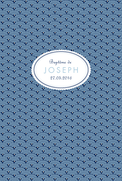 Menu de baptême Pattern écusson bleu finition